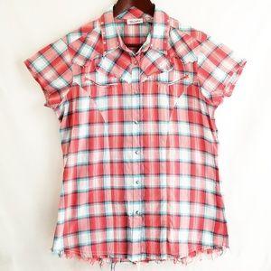 Wrangler | Pink Plaid Western Shirt Snap Front